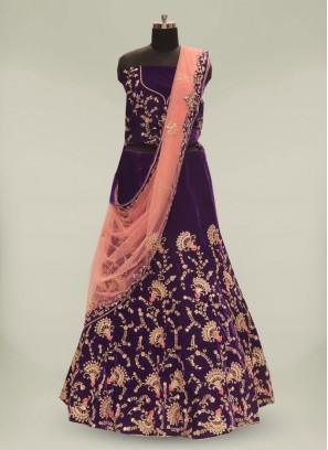Designer Purple Color Velvet Lehenga For Bridal