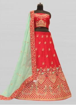 Designer Raw Silk Wedding Lehenga Red