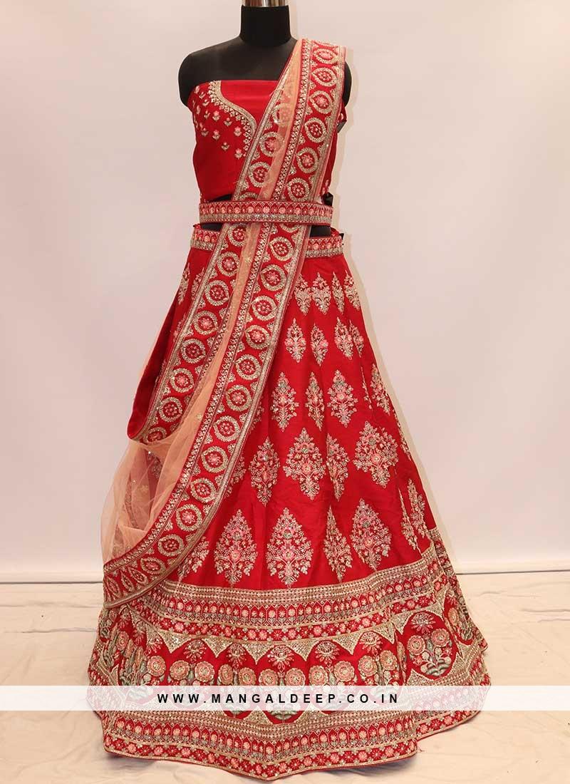 Designer Red Color Silk Chaniya Choli