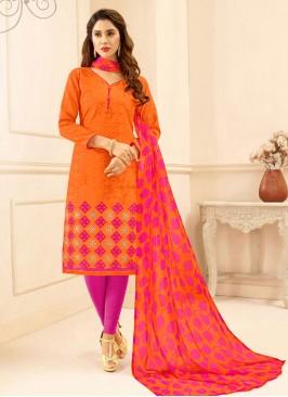 Designer Salwar Kameez In Orange Color Embroidery Work