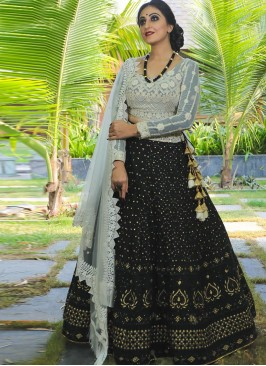 Designer Sangeet Function Wear Fancy Black Color Lehenga Choli