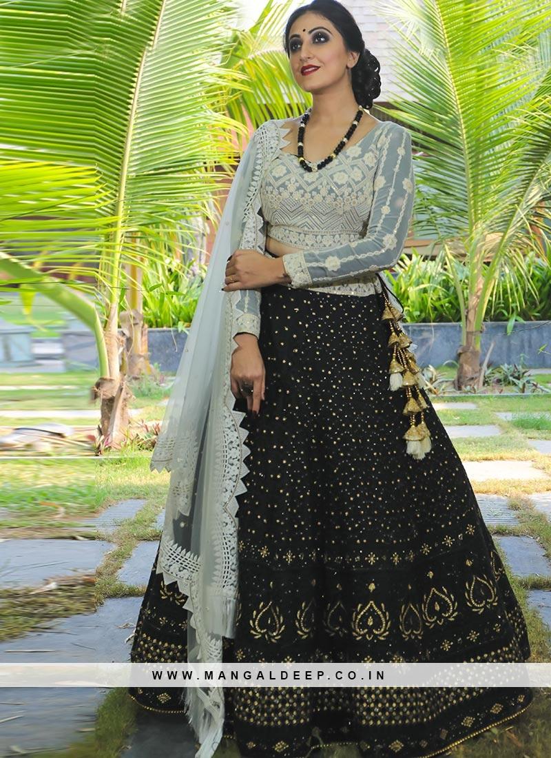 Designer Sangeet Function Wear Fancy Black Color Lehenga Choli