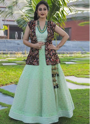 Designer Sangeet Function Wear Fancy Green Color Lehenga Choli