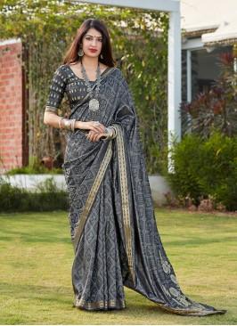 Designer Saree Grey Color