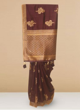 Designer Silk Saree In Lovely Brown Color