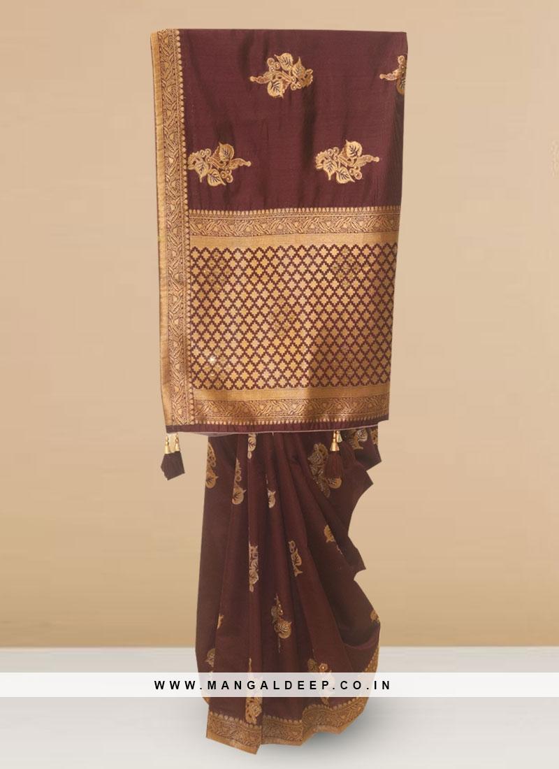 Designer Silk Saree In Lovely Brown Color