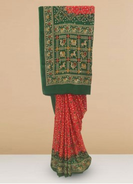 Designer Silk Saree In Lovely Maroon And Green Color