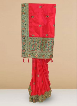 Designer Silk Saree In Lovely Rani Color