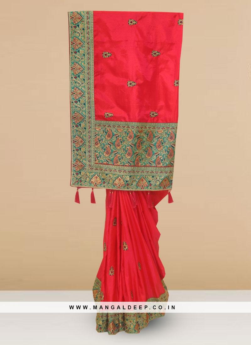 Designer Silk Saree In Lovely Rani Color