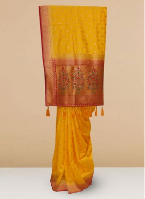 Designer Silk Saree In Lovely Yellow Color