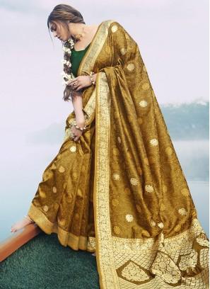 Designer Silk Saree In Mustard Color
