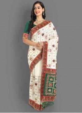 Designer Silk White Panetar Saree
