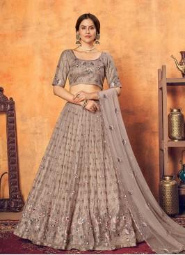 Dusty Color Net Merrige Wear Lehenga
