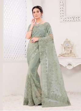 Dusty Green Color Net Saree