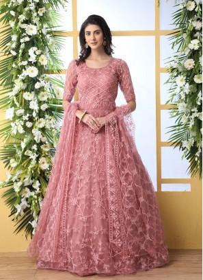 Dusty Peach Color Net Anarkali Gown