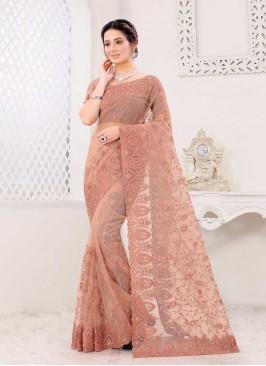 Dusty Peach Color Net Saree