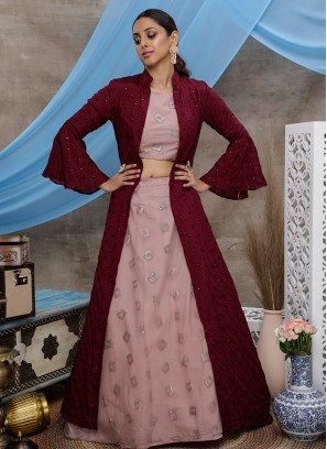 Dusty Pink Color Net Crop Top Lehenga With Jacket