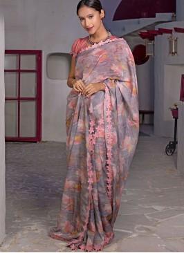 Dusty Pink Color Printed Organza Saree