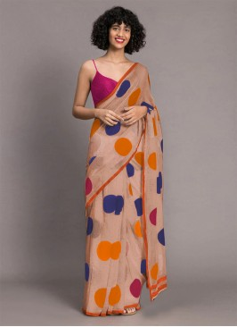 Dusty Pink Color Printed Saree