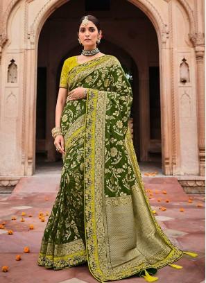 Elegant Green Color Dolla Silk Saree