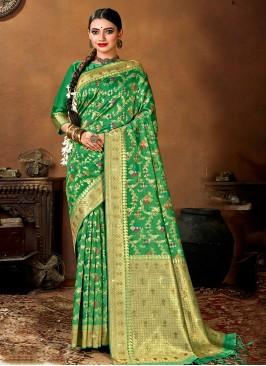 Elegant Green Color Festive Wear Silk Saree