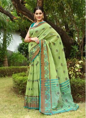 Elegant Green Color Linen Saree