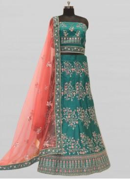 Elegant Green Color Silk Bridal Lehenga
