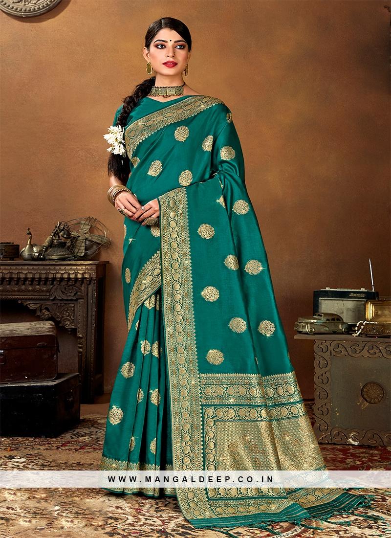 Elegant Green Color Silk Saree