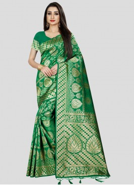 Elegant Green Color Silk Sarees Latest