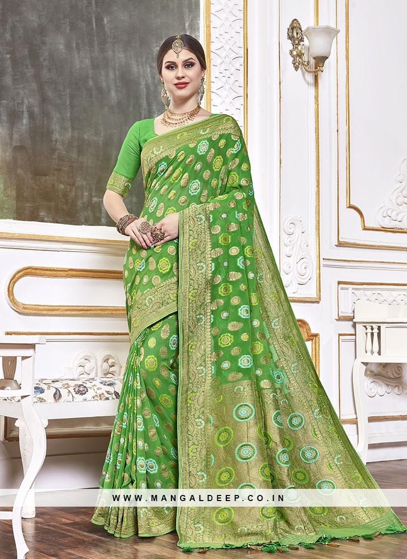 Elegant Green Color Viscose Saree