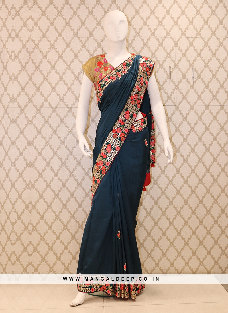 Elegant Navy Blue Silk Handwork Saree With Contrast Red Blouse