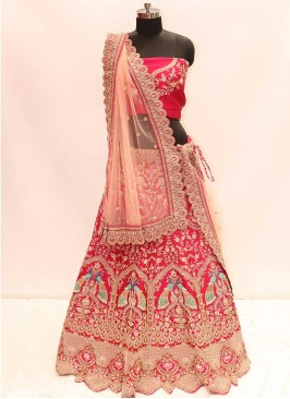 Elegant Pink Color Silk Lehenga For Bride