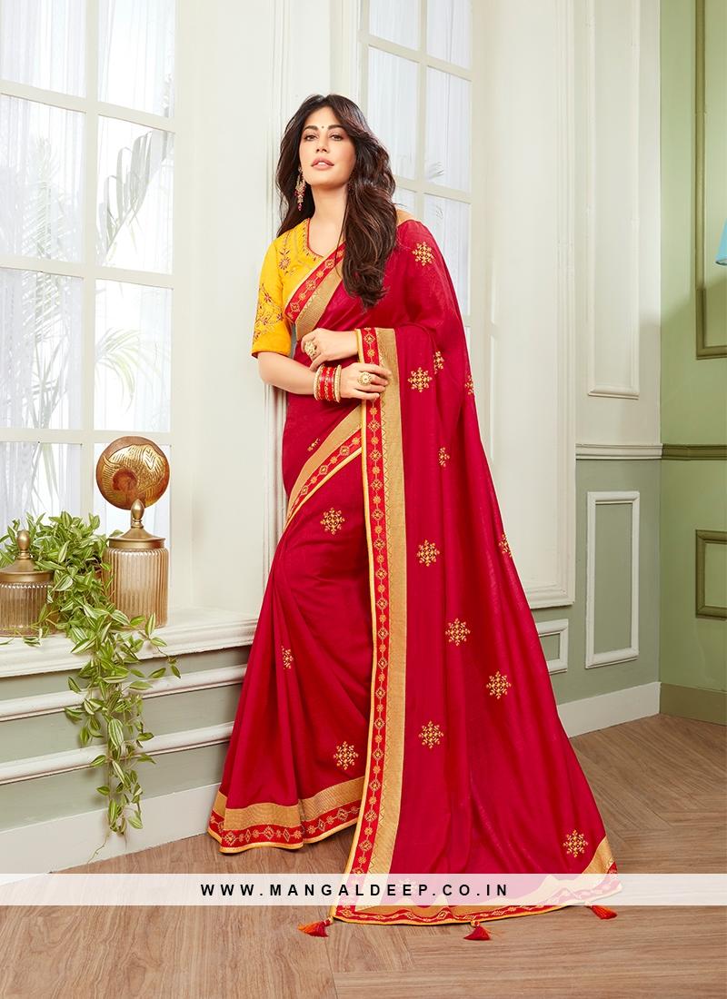 Elegant Red Color Simple Saree