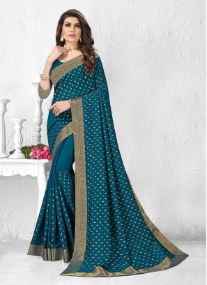 Elegant Teal Blue Silk Saree