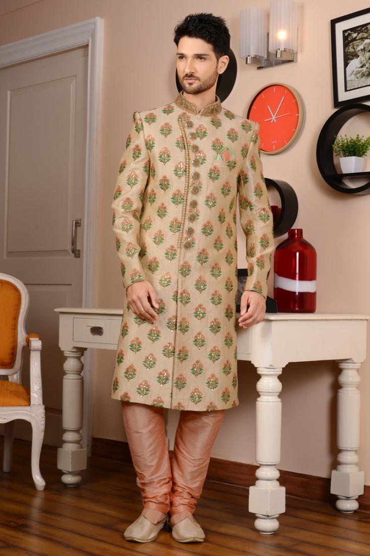 Emboidered Cream Designer Churidar Style Wedding Sherwani