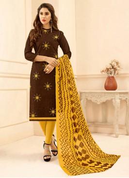 Embroidered Designer Salwar Suit Brown Color