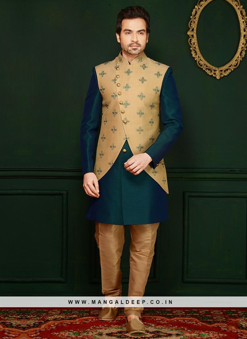 Embroidered Teal Art Banarasi Silk Engagement Wear Indo Western