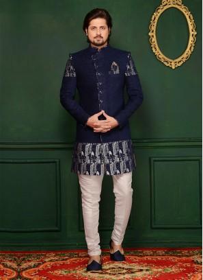 Engagement Wear Jute Velvet Brocade Blue Indo Western