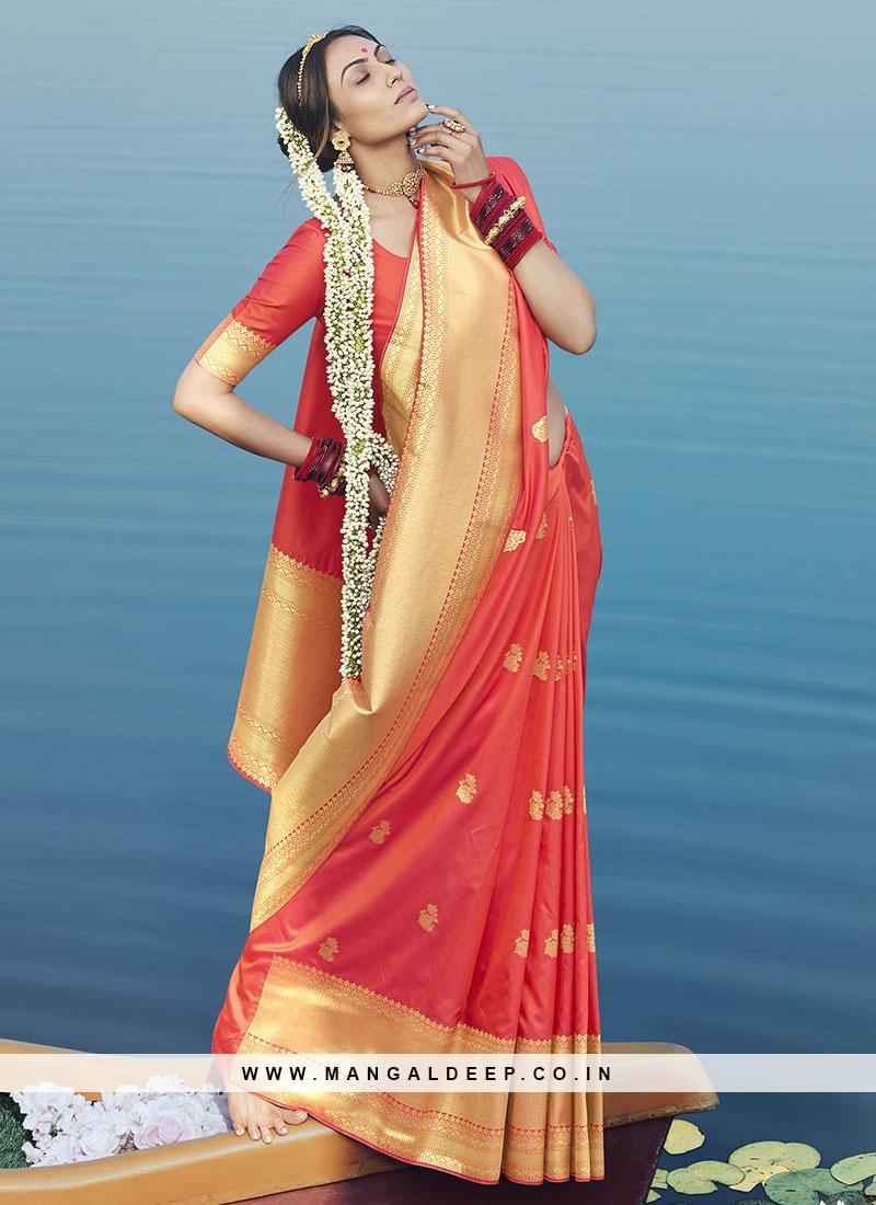 Exclusive Orange Color Saree In Silk