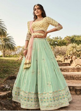 Exclusive Pastle Green Color Function Wear Lehenga Choli