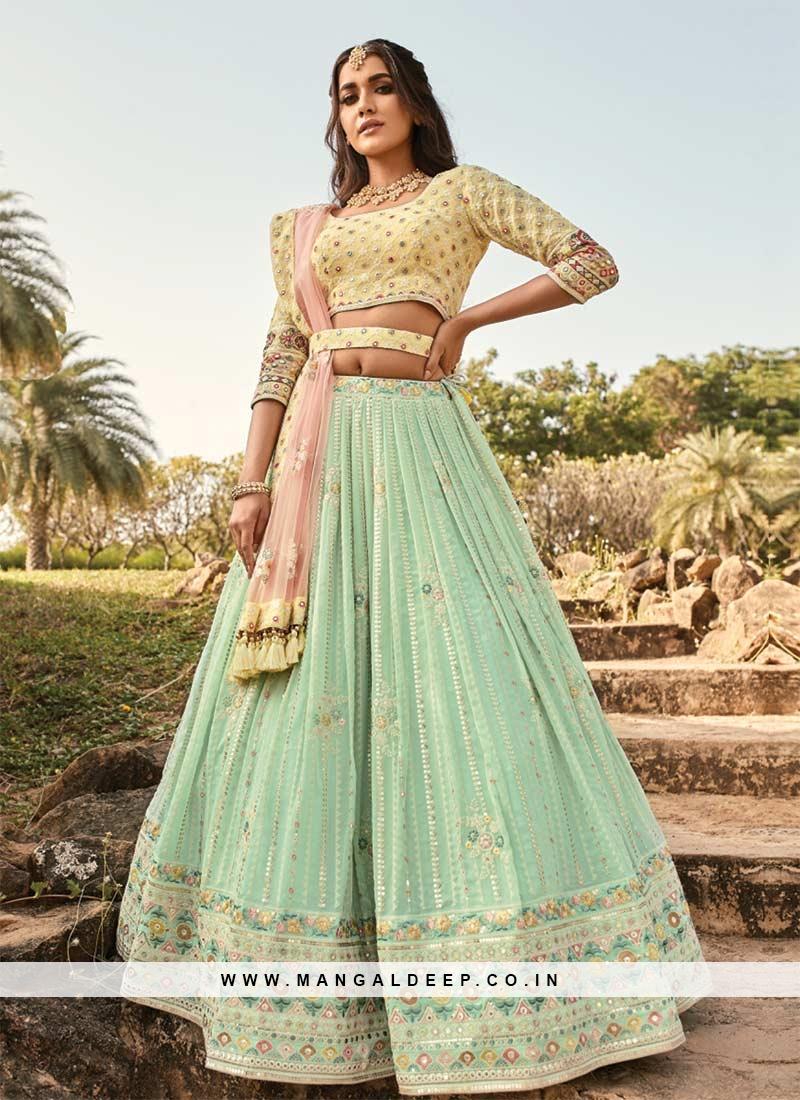 Exclusive Pastle Green Color Function Wear Lehenga Choli