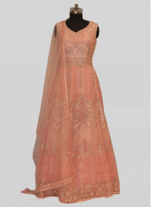 Exclusive Peach Color Net Gown For Bride