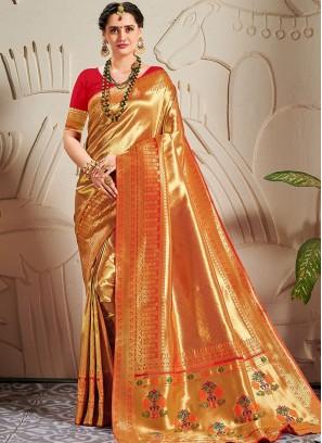 Exclusive Red Color Zari Work Banarasi Silk Saree