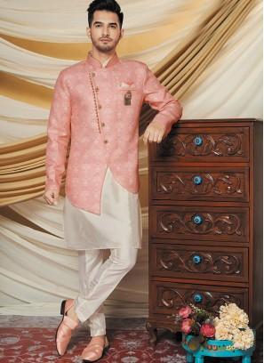 Exquisite Silk Jacquard Jacket with Kurta Set