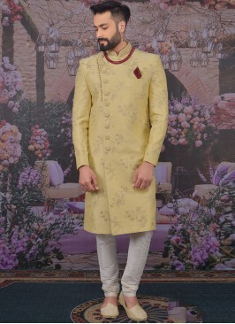 Fabulous Beige Color Men Sherwani For Wedding