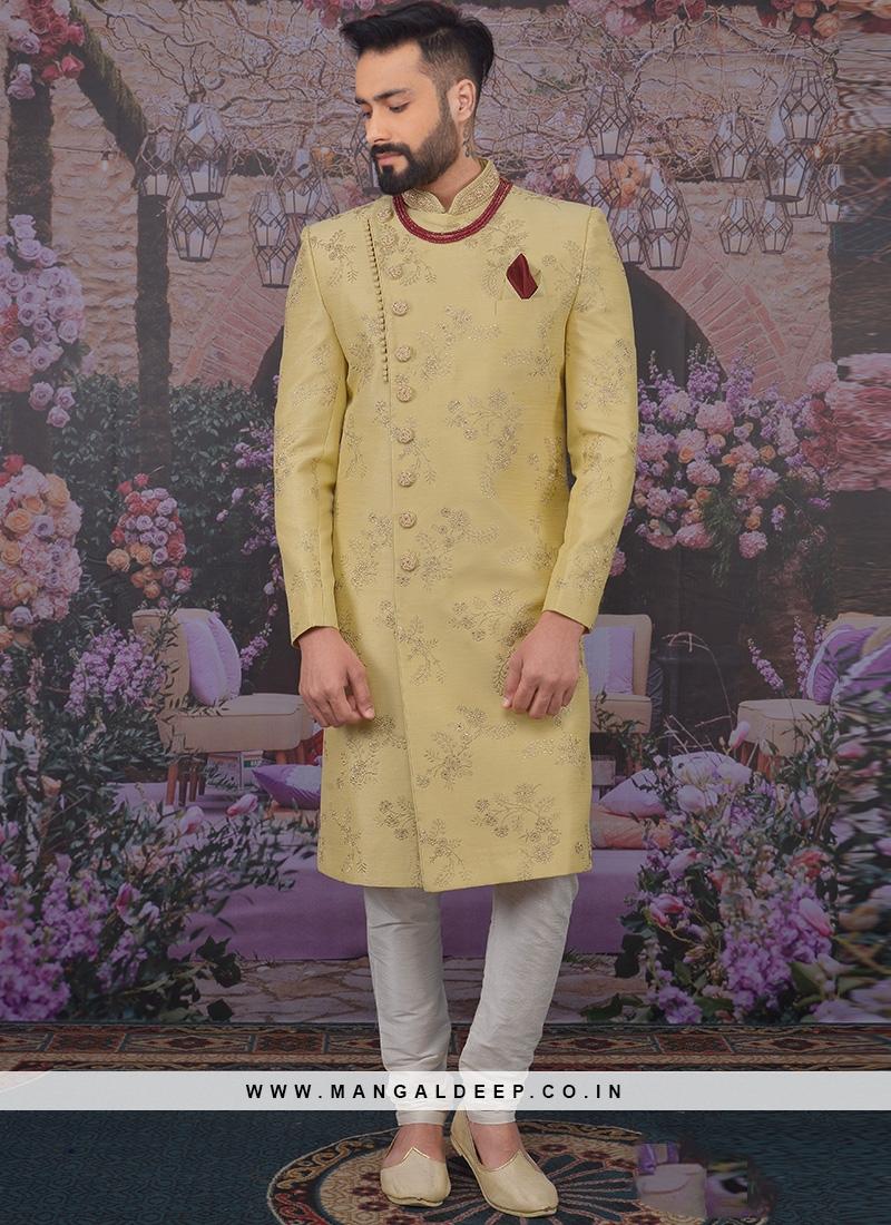 Fabulous Beige Color Men Sherwani For Wedding