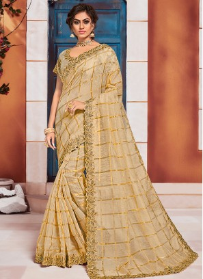 Fabulous Beige Color Party Wear Saree With Unstitched Blouse