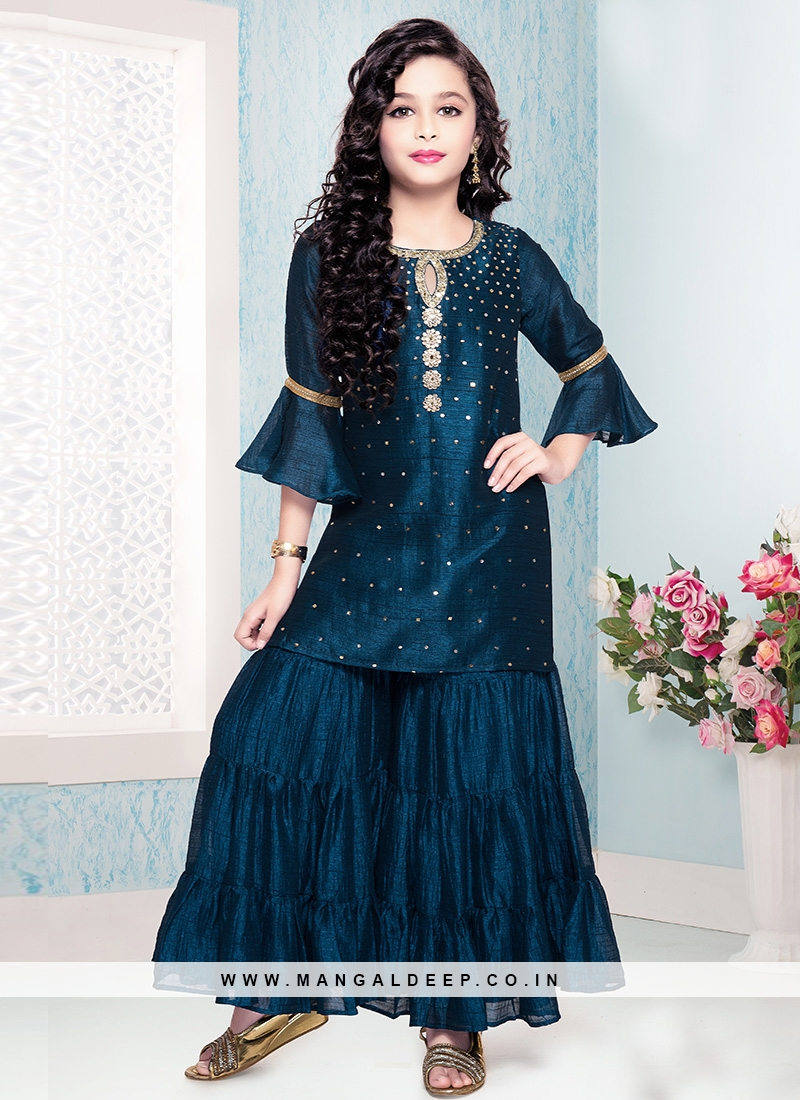 Fabulous Blue Color Designer Dress For Kids