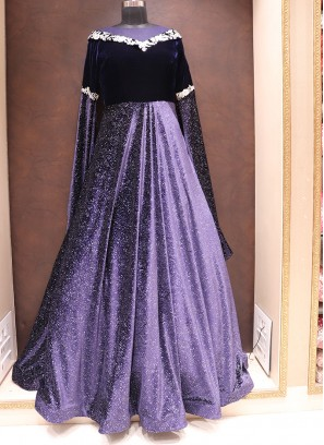 Fabulous Blue Color Designer Velvet Fancy Gown