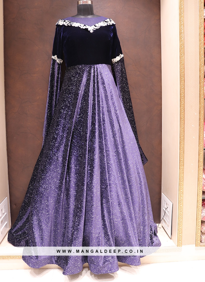 Fabulous Blue Color Designer Velvet Fancy Gown